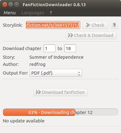 FanFictionDownloader screenshot